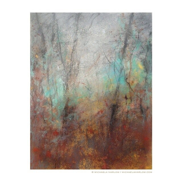 Autumn Rain, 2014. Charcoal & Pastel on Paper.