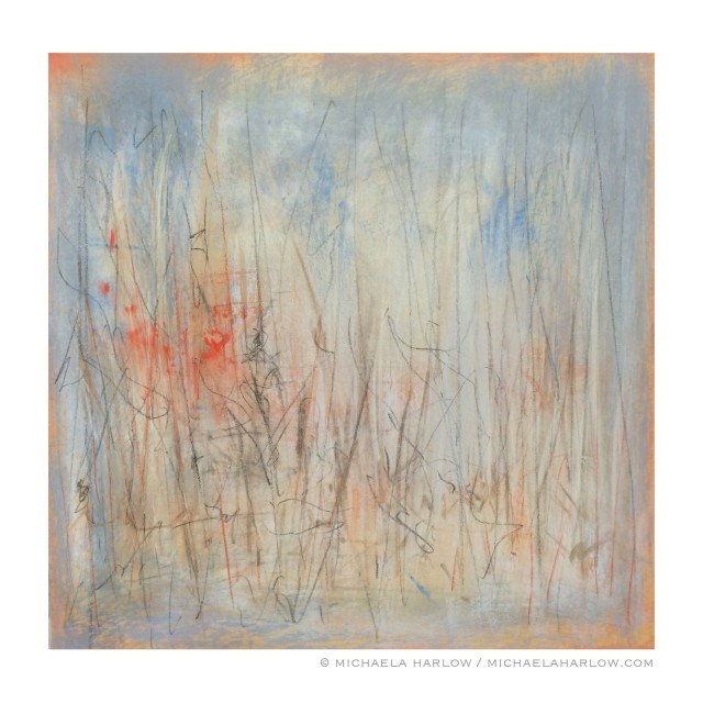 Rain at South Pond, 2015. Pastel on Paper.